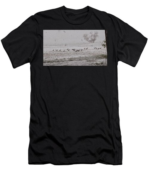 Geese Walking In The Snow Men's T-Shirt (Athletic Fit)