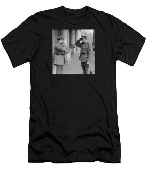 General John Pershing Saluting Babe Ruth Men's T-Shirt (Slim Fit)