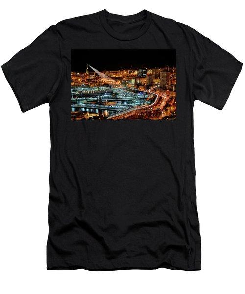 Genoa And The Lighthouse By Night - Genova E La Sua Lanterna  Men's T-Shirt (Athletic Fit)