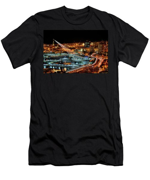 Genoa And The Lighthouse By Night - Genova E La Sua Lanterna  Men's T-Shirt (Athletic Fit)