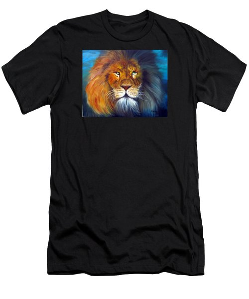 Men's T-Shirt (Slim Fit) featuring the painting Gentle Lion King by LaVonne Hand