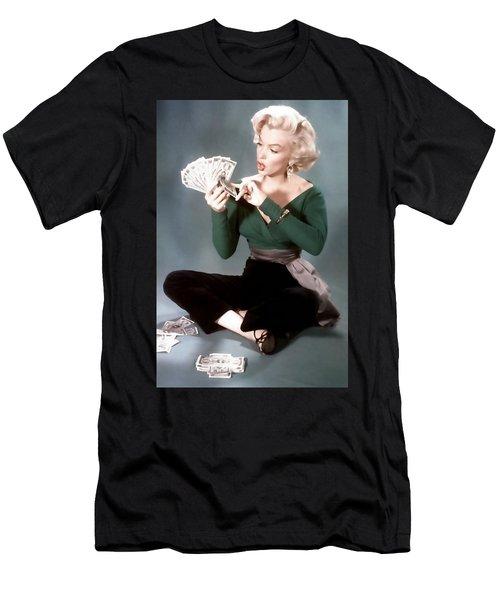 Men's T-Shirt (Athletic Fit) featuring the painting Gentlemen Prefer Blondes Movie Art Staring Marilyn Monroe by R Muirhead Art