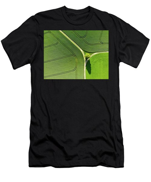 Geometric Landscape 05 Tree And Green Fields Aerial View Men's T-Shirt (Athletic Fit)