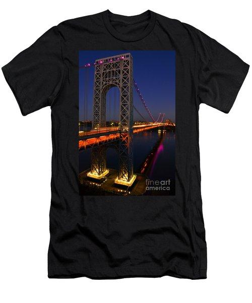 George Washington Bridge At Night Men's T-Shirt (Slim Fit) by Zawhaus Photography
