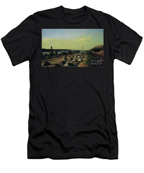 Men's T-Shirt (Athletic Fit) featuring the photograph George Washington Bridge  by Cole Thompson