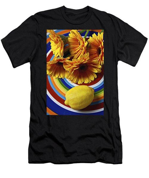 Gerbera Daisy's And Lemon Men's T-Shirt (Athletic Fit)