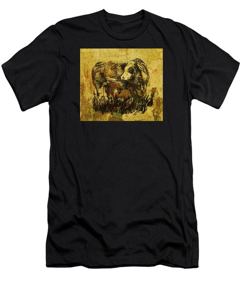 Men's T-Shirt (Slim Fit) featuring the drawing German Fleckvieh Bull 21 by Larry Campbell