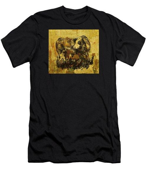 German Fleckvieh Bull 21 Men's T-Shirt (Slim Fit) by Larry Campbell
