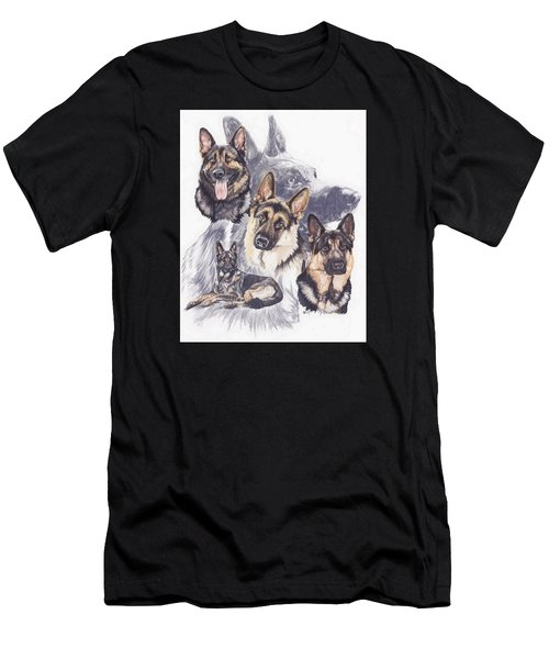 Men's T-Shirt (Athletic Fit) featuring the mixed media German Shepherd Medley by Barbara Keith