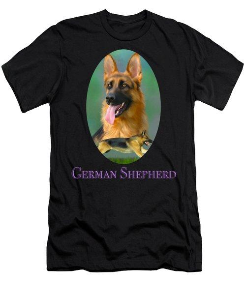 German Shepherd With Name Logo Men's T-Shirt (Athletic Fit)
