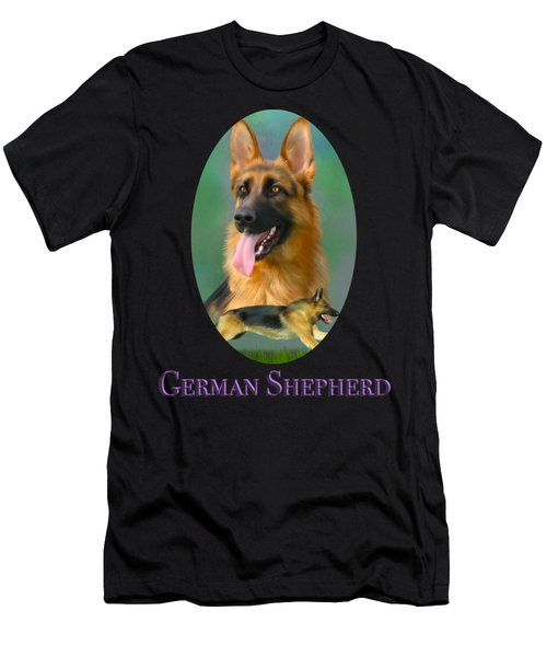 Men's T-Shirt (Athletic Fit) featuring the painting German Shepherd With Name Logo by Becky Herrera