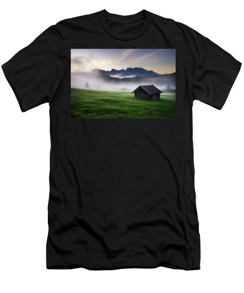 Geroldsee Forest With Beautiful Foggy Sunrise Over Mountain Peaks, Bavarian Alps, Bavaria, Germany. Men's T-Shirt (Athletic Fit)
