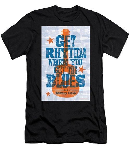 Get Rhythm - Johnny Cash Lyric Poster Men's T-Shirt (Athletic Fit)