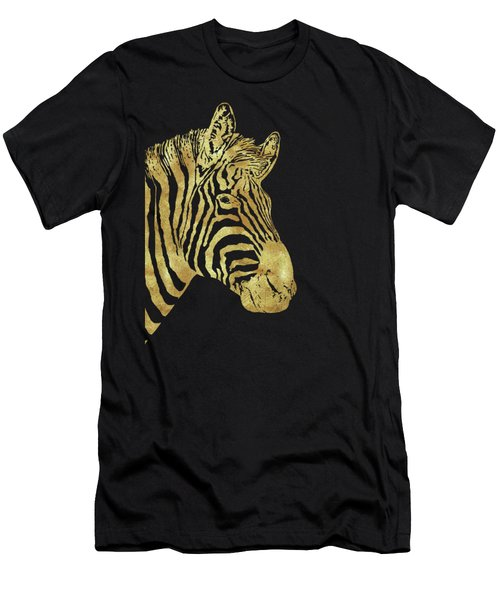 Gilt Zebra, African Wildlife, Wild Animal In Painted Gold Men's T-Shirt (Athletic Fit)
