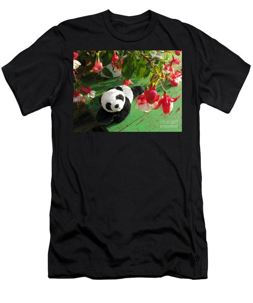 Men's T-Shirt (Slim Fit) featuring the photograph Ginny Under The Red And White Fuchsia by Ausra Huntington nee Paulauskaite
