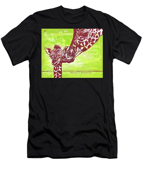 Mum's Kissing - Giraffe Stylised Pop Art Poster Men's T-Shirt (Athletic Fit)
