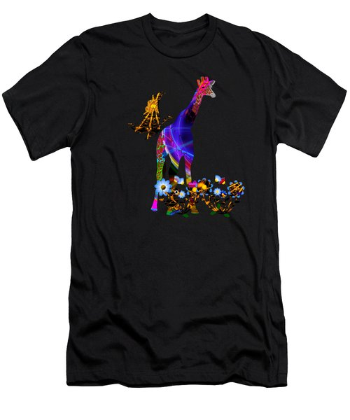 Giraffe And Flowers Men's T-Shirt (Athletic Fit)
