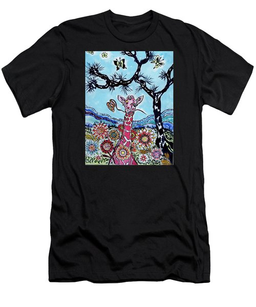 Giraffe In Garden Men's T-Shirt (Athletic Fit)