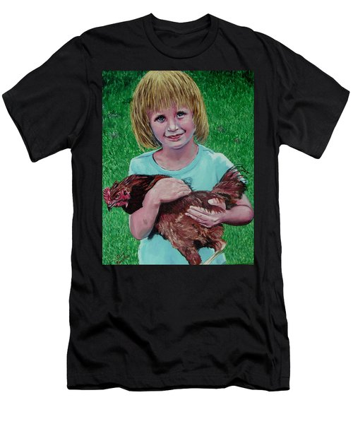 Girl And Chicken Men's T-Shirt (Athletic Fit)