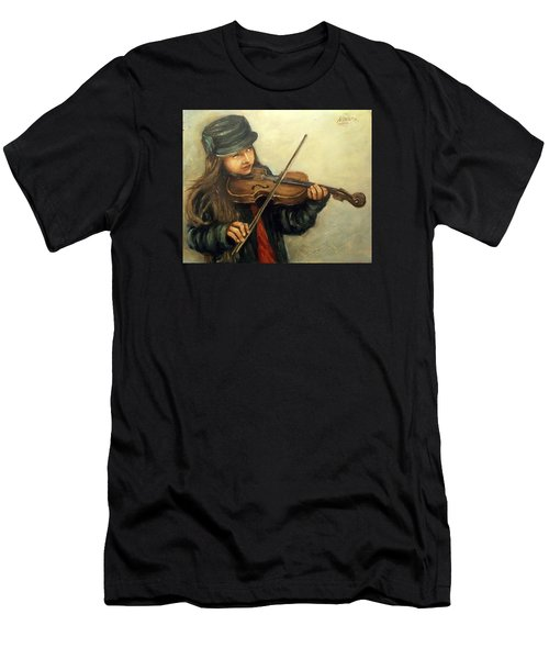 Girl And Her Violin Men's T-Shirt (Athletic Fit)