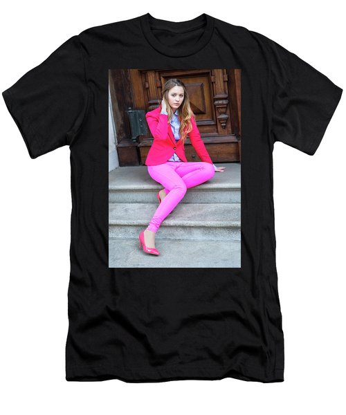 Girl Dressing In Pink Men's T-Shirt (Athletic Fit)