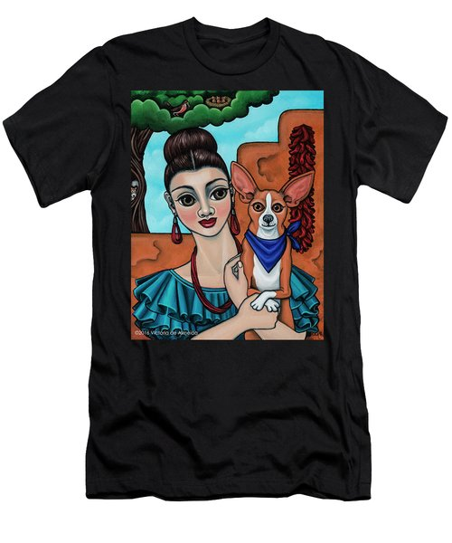 Girl Holding Chihuahua Art Dog Painting  Men's T-Shirt (Athletic Fit)