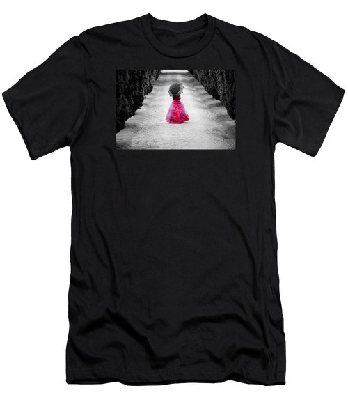 Girl In A Red Dress Men's T-Shirt (Slim Fit) by Helen Northcott