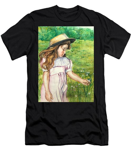 Girl In Straw Hat Men's T-Shirt (Athletic Fit)