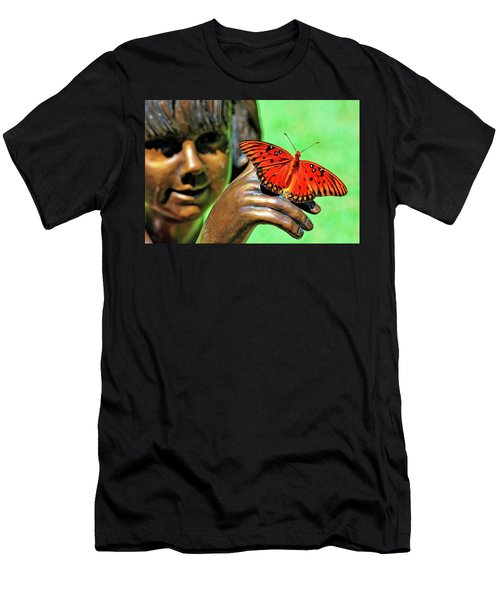 Girl With Butterfly Men's T-Shirt (Athletic Fit)