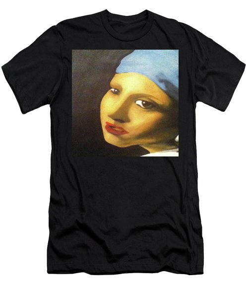 Men's T-Shirt (Athletic Fit) featuring the painting Girl With Pearl Earring Face by Jayvon Thomas