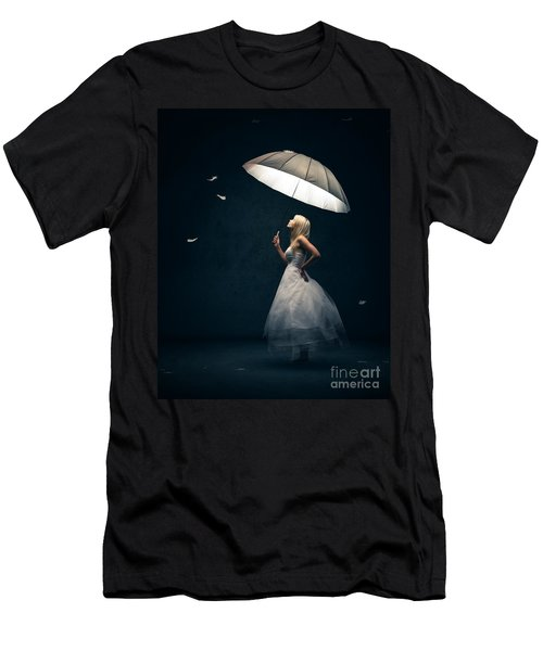 Girl With Umbrella And Falling Feathers Men's T-Shirt (Slim Fit) by Johan Swanepoel