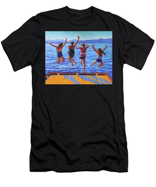 Girls Jumping Men's T-Shirt (Athletic Fit)