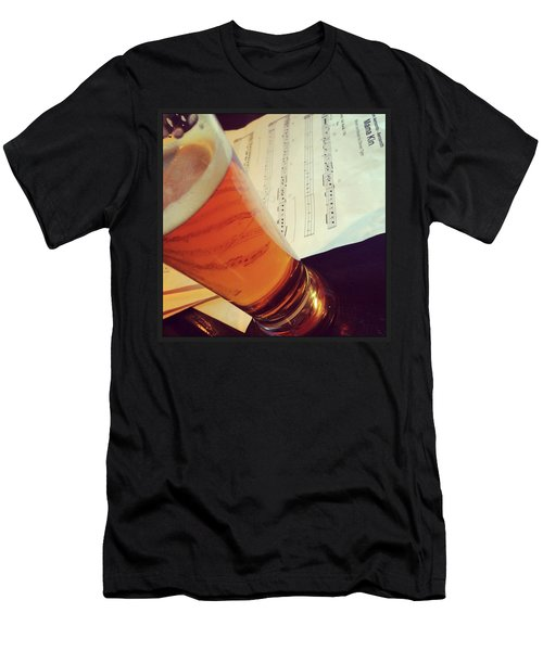 Glass Of Beer And Music Notes Men's T-Shirt (Athletic Fit)