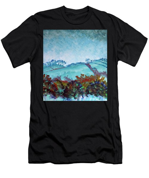 Gloomy Overcast Cloudy Day Devon Rolling Hills Men's T-Shirt (Athletic Fit)