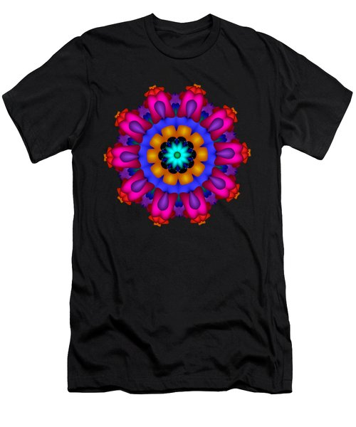 Glowing Fractal Flower Men's T-Shirt (Athletic Fit)