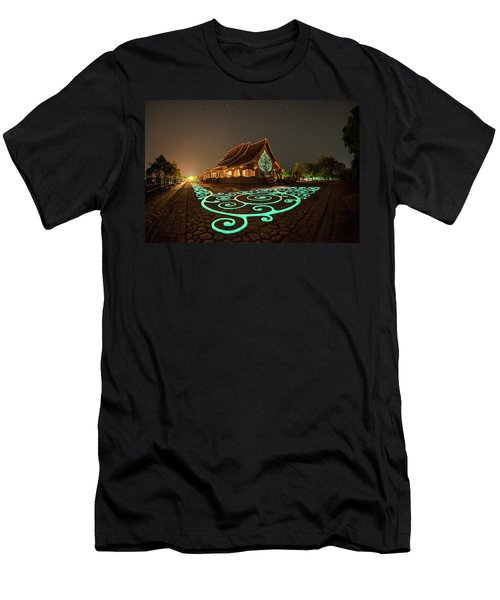 Men's T-Shirt (Athletic Fit) featuring the photograph Glowing Wat Sirintorn Wararam Temple, Ubon by Pradeep Raja Prints