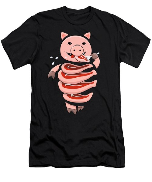 Gluttonous Self-eating Pig Men's T-Shirt (Slim Fit) by Boriana Giormova