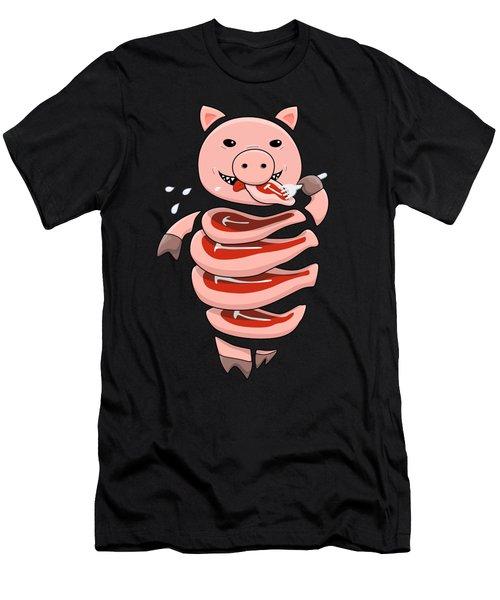Gluttonous Self-eating Pig Men's T-Shirt (Athletic Fit)