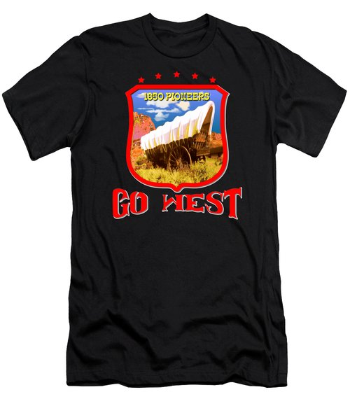 Go West Pioneer - Tshirt Design Men's T-Shirt (Athletic Fit)