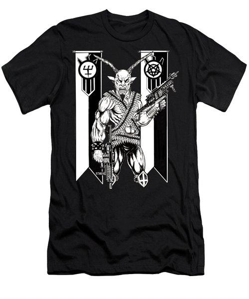 Goat War Black Men's T-Shirt (Slim Fit) by Alaric Barca