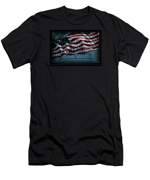 God Country Notre Dame American Flag Men's T-Shirt (Slim Fit) by John Stephens
