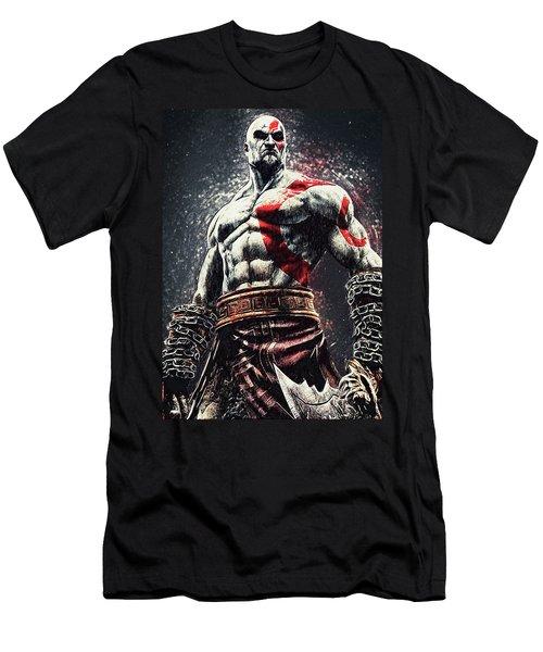 Men's T-Shirt (Slim Fit) featuring the digital art God Of War - Kratos by Taylan Apukovska