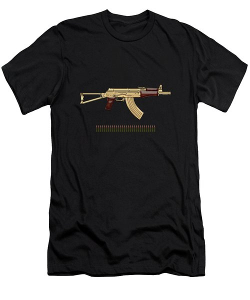 Gold A K S-74 U Assault Rifle With 5.45x39 Rounds Over Black Velvet Men's T-Shirt (Athletic Fit)