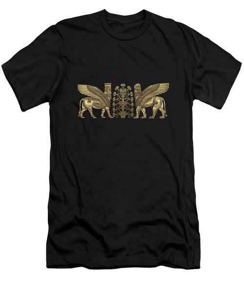Gold Assyrian Winged Lion And Winged Bull - Lumasi With Tree Of Life Over Black Canvas Men's T-Shirt (Athletic Fit)