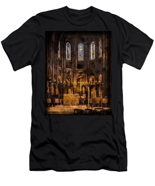 Paris, France - Gold Cross - St Germain Des Pres Men's T-Shirt (Athletic Fit)
