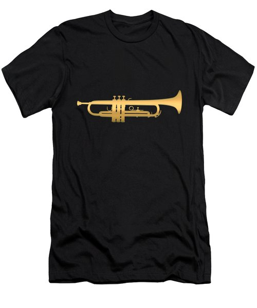 Gold Embossed Trumpet On Dark Red Background Men's T-Shirt (Athletic Fit)