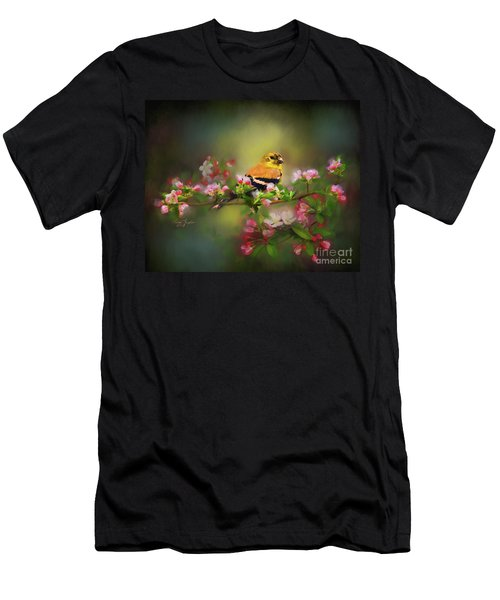 Gold Finch And Blossoms Men's T-Shirt (Athletic Fit)