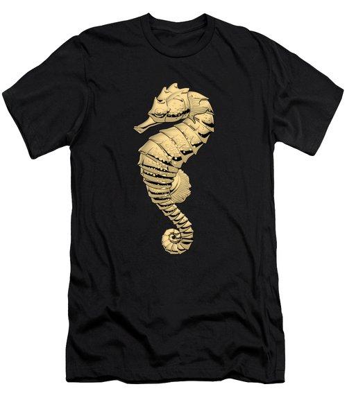 Gold Seahorse On Black Canvas Men's T-Shirt (Slim Fit) by Serge Averbukh