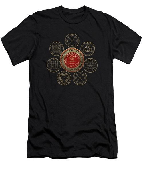 Gold Seal Of Solomon Over Seven Pentacles Of Saturn On Black Canvas  Men's T-Shirt (Athletic Fit)