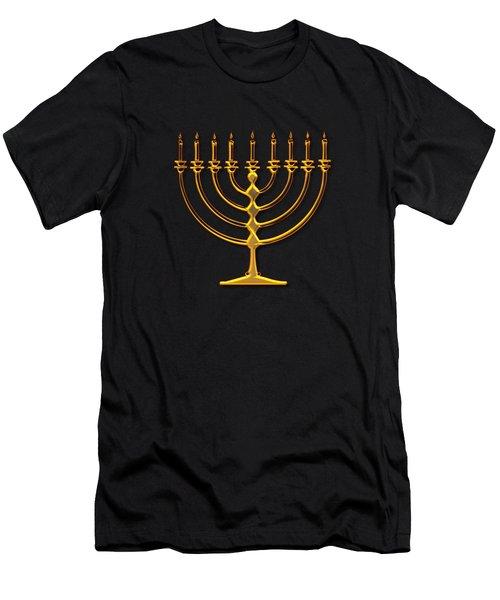 Golden 3-d Look Menorah  Men's T-Shirt (Slim Fit) by Rose Santuci-Sofranko
